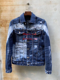 Jaqueta j on-line-Jaqueta jeans azul de lavagem Carta bordada camisa bolso danificando jaqueta Grande Buraco tendência homens quebrados Jaquetas J-1
