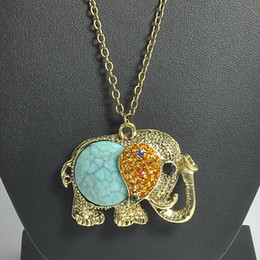 pretty necklaces Coupons - Pretty Elephant Necklaces Vintage Bohemian Beautifully Pendant Necklace Colar Rhinestone Women Lucky Jewelry Long Chain Necklace