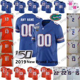 Tebow трикотажных изделий онлайн-Custom Florida Gators 2019 New Jump Футбол Любое Имя Номер Синий Оранжевый Белый # 81 Аарон Эрнандес Фрэнкс Тони Перин Тебоу Коупленд Джерси