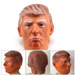 Cos máscara online-Máscara de disfraz de Donald Trump Halloween Máscara de látex realista Carnaval Máscara Capucha Celebridad Cara COS Máscara Estrella Imitación Espectáculo