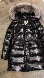 Brillanti cappotti invernali online-Francia marchio rivestimento delle donne addensare inverno donne femmina sottile cappotti 100% vero e proprio Big Fox capelli pelliccia brillante luce Giù cappotto con cappuccio Pa