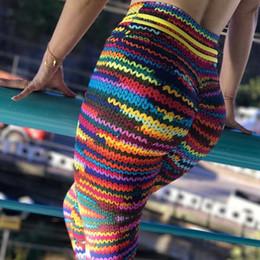 strickgamaschen Rabatt GUMNHU Mode Farbe 3D Druck Frauen Leggings Sommer Polyester Hohe Taille Lange Hose Original Knit Fitness Leggings