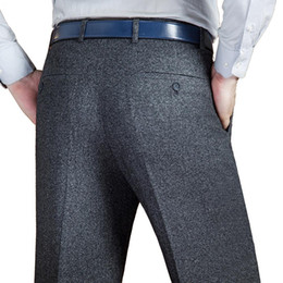 Черные платья онлайн-Black Suit Pant For Men Loose Wool Men Suit Pants Classic Straight Mens Dress Pants Formal Business