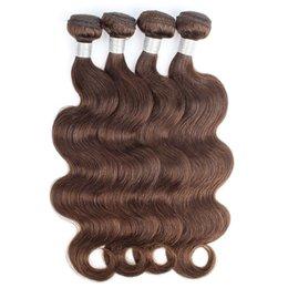 Pelo de chocolate tejer 24 pulgadas online-Color 4 paquetes de cabello humano marrón chocolate brasileño Onda del cuerpo de la virgen brasileña teje 3/4 paquetes de 12-24 pulgadas 100% Remy extensiones de cabello humano