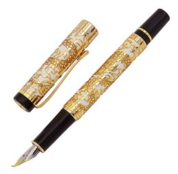 Красивые ручки онлайн-Jinhao 5000 Vintage  Metal Calligraphy Fountain Pen Bent Nib Beautiful Dragon Texture Carving, Golden & White Office Pen