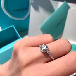 impostazioni del diamante rotondo Sconti gioielli di lusso designer donne 925 anelli in argento sterling anello di fidanzamento bague dame tif marchio diamante anello scatola originale