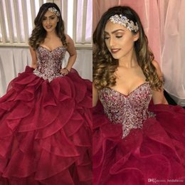 Vintage Burgundy Ball Gown Quinceanera Dresses Sweetheart Organza Ruffles Cascade Prom Dress 2019 Top Beaded Corset Vestidos 15 Anos