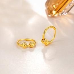 90575be4f2db Pendientes de oro amarillo sólido puro de 24Q Pendientes de aro tallados en oro  999 para mujeres