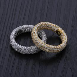 2019 anéis de ouro topázio rosa Alta Qualidade Hip Hop 925 Anel De Prata Esterlina Anel De Luxo Completa Cubic Zircon Ouro Prata Charme Jóias