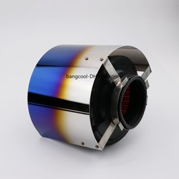 "Encaixe do filtro de ar on-line-Universal Aço Inoxidável Titanium Azul Intake Air Cover Filtro Escudo Térmico Apto Para 2.5-5 ""Filtro"