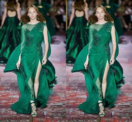Zuhair Murad 2020 Новая коллекция темно-зеленые платья выпускного вечера с длинным рукавом с круглым вырезом шифон развертки поезд формальный случай выпускного вечера платье партии от