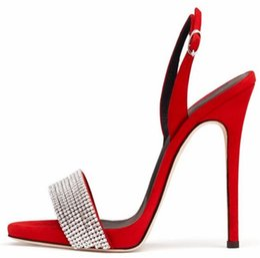 2019 mode frauen gladiator sandalen glitter strass stud sandalen sling back high heels party schuhe diamant kleid mit hohen absätzen