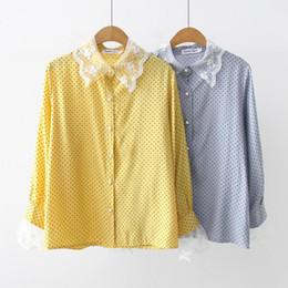 Argentina Mori Chica japonesa Blusa dulce Encaje Empalme Camisas de gasa Mujeres Manga larga Lunares y blusas Azul, Amarillo cheap yellow blouse long sleeved Suministro