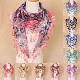 шарфы из синели Скидка Женщины кружева кисточкой цветочные многоцветный печати полые шарф шаль обертывания шарфы Dropshipping украшения аксессуары скидка