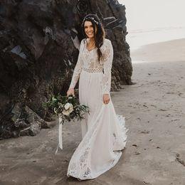 vestidos de novia únicos de invierno Rebajas Boho chic largo vestido de novia de gasa manga 2020 elegante del cordón único del estilo de país de vestidos de novia de invierno