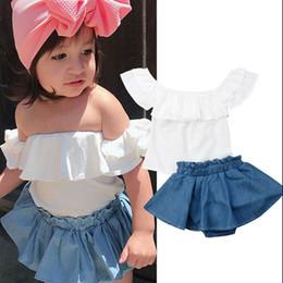 saia calça floral Desconto Roupas de bebê Meninas Floral Lace Tops + Denim Saia Calças Set 6M-3T Tubo Kid Ruffled Sleeve Top Solid Saia Set