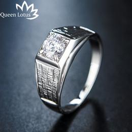 2019 anillo de diamantes de cristal swarovski 18k Anillo de bodas de los hombres de alta calidad de moda 2019 Anillo de plata chapado en oro blanco del partido para el regalo