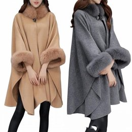 collar cape Coupons - Fashion New Winter Autumn Faux Fur Collar Cape Shawl Cardigan Women Poncho Cape Coat Gray Khaki Warm Woolen Jackets FS5235