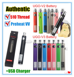 510 stylo batterie Promotion Authentique stylo vape UGO-V II 2 510 à filetage Kits de batterie de préchauffage de tension variable UGO V3 EVOD eGo Micro USB Ecart de batterie de cartouche Passthrough