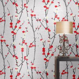 Papel tapiz para habitaciones de hotel online-Antecedentes Estilo papel pintado flor del ciruelo del melocotón Nuevo chino Sala de estar Sala de Estudio cabecera del hotel