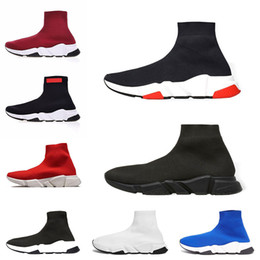42aa0f751 2019 mens Speed Trainer Triplo preto branco corredores Sapatos Brilhantes vinho  tinto Vermelho liso Moda de Luxo Meias de Inicialização Designer Homens ...