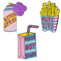 3pcs belle bande dessinée broches insigne badge mignonne revers épingles broche émail ensemble - frites, boîte de lait, pulvérisation ? partir de fabricateur