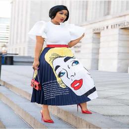 abiti americani cinesi Sconti Alta qualità nuovo arrivo elegante bellezza Lady Cartoon testa stampato pieghe lunghe gonna pendolare festa vacanze
