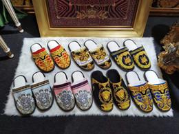 tecido cristão Desconto Clássico de luxo designer de impressão chinelos para homens mulheres outono inverno chinelos de algodão confortável nova chegada multi-cor opcional sapatos para casa