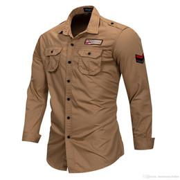 Colletto della camicia militare online-MASCHIO Camicie casual all'aperto Abbigliamento uomo Tops Turn-down Collar Camicie militari Top monopetto