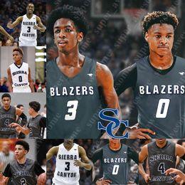 2019 michael jackson azul Personalizado Sierra Canyon High School de Basketball Jersey 0 Bronny James 15 Terren Frank 2 Zaire Wade Ziaire Williams Bailey Brandon Boston Jr