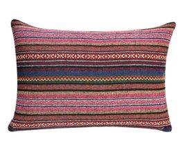 vida navideña decoración de navidad Rebajas estilo de ropa de cama de patrón geométrico nacionalidad de lino rectangular sofá cojín funda de almohada, adecuado para la sala de estar, balcón, dormitorio