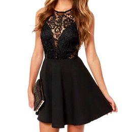 b9c58dc694d3 2017 Fashion Women Sexy Sleeveless Lace Dress V Back Party Dresses Hollow  Out Black Mini Dress Girl Dresses