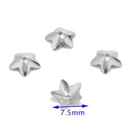 bouchon de perles de 6 mm Promotion 100pcs en acier inoxydable 6mm / 7.5mm fleur casquettes des bouchons d'extrémité accessoires pour les résultats de bijoux de bricolage faisant des fournitures