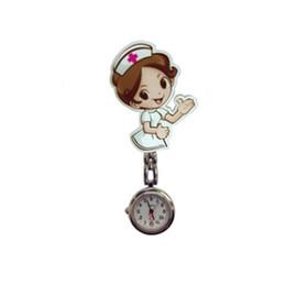 Enfermera reloj acero online-Enfermera linda Reloj de bolsillo de acero inoxidable Números árabes Cuarzo Broche Doctor Enfermera Reloj de moda para Dropshipping Harajuku