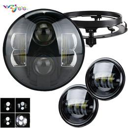 2019 led-projektor scheinwerfer 7 zoll 80 Watt LED Projektor Scheinwerfer Hallo / Abblendlicht Passende 7 zoll Halterung + 4,5 zoll LED Passing Nebelscheinwerfer Für motorrad Universal scheinwerfer rabatt led-projektor scheinwerfer