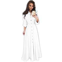 Weiße weibliche kleidhemden online-Schwarzes weißes Hemd-Kleid-Frauen-Umlegekragen-fester Frühling Maxi Damen kleidet langes Hülsen-beiläufiges Kleid weibliches elegantes