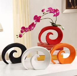Ваза красного цвета онлайн-Вазы Современная керамическая ваза для домашнего декора Настольная ваза Белый Красный Черный Оранжевый Выбор цвета