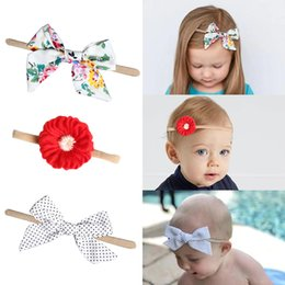 pink hair bow pearls Coupons - Bow Baby Headband Girl Hairbands Flower Pearl Embroidery Red White Plaid Kids Hair Ping Satin Cloth 28