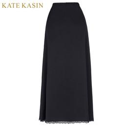 Jupe lingerie blanche en Ligne-Kate Kasin Solide Blanc Longue Jupe Femmes Noir Modal Longue Moitié Glisse Doux Sous-Vêtements Femme Spandex Pour Jupes Robe Sous-Jupe