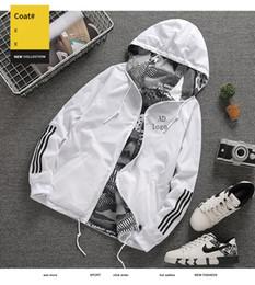 Рекламная куртка онлайн-Мужская дизайнерская куртка горячей продажи дизайнер пальто случайные роскошные куртки с капюшоном обратимым полиэстер с длинным рукавом спортивная верхняя одежда объявление ветровка