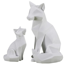 Decoraciones de origami online-Abstract Fox Statue Pórche Inicio Origami Resina Animales Sala de estar Craftrawork Decorations Geometry L2865 TJRXX