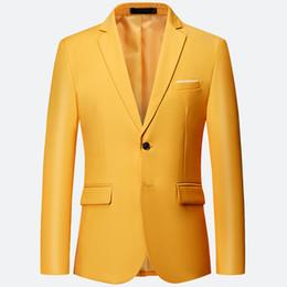 terno de lazer amarelo Desconto Terno de lazer dos homens o novo outono 2019 homens de negócios dois grãos de uma peça única terno cor pura amarelo