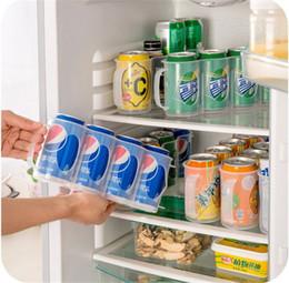 Refrigeradores de bebidas online-Cerveza Soda Almacenamiento de latas de bebidas Refrigerador Almacenamiento Cerveza o Soda Lata de bebidas Latas para ahorrar espacio Acabado Organizador de cuatro cajas