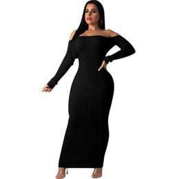 camisolas de chão Desconto Backless Com nervuras Sexy Camisola Vestido de Moda Mulheres Barra Pescoço Longo Da Luva Do Assoalho-Comprimento Vestido 2019 Primavera Ombro Longo Vestido Maxi