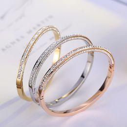 2019 joalharia de braço de prata Cristais austríacos pulseiras de aço inoxidável Fahison nupcial Ouro Pulseiras Fina Bangles elegante Jóias
