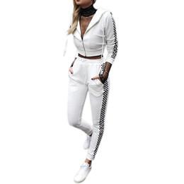 blanco ropa deportiva Rebajas Traje deportivo blanco Mujeres Zipper Chándal Pantalones Fitness Yoga Set Entrenamiento Gimnasio Correr Ropa deportiva con sombrero Negro Blanco Rejilla S3 # 74060