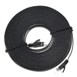 cat6 connectors Promo Codes - 1M-10M Flat Cat6 Patch Cable Network Ethernet Patch Cable Ethernet Internet Network RJ45 LAN Connector Black