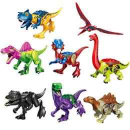 2019 brinquedos do homem-aranha azul Dinossauro jurassic park mundo construção tijolo pterosauria triceratops indomirus dinossauro colorido batalha quebra-cabeça das crianças bloco de construção