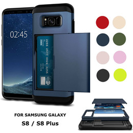 2019 téléphones coulissants Armure robuste de luxe avec porte-carte coulissante portefeuille antichoc mince couverture de cas de téléphone pour iPhone 6 7 8 plus XS Samsung S6 S7 S8 S9 Note 9 8 téléphones coulissants pas cher