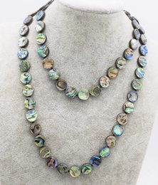 Ожерелья с радужной оболочкой онлайн-blue rainbow abalone shell coin 10/12mm necklace 30inch FPPJ wholesale  nature